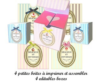 Digital box, Printable box, cake box, macaron, cupcake, rétro, vintage, french script, instant download box, cake box.