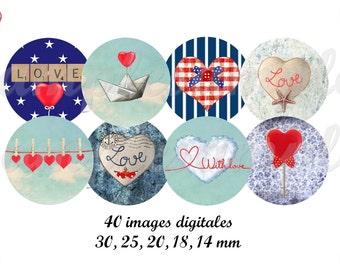 Digital Collage Sheet heart, love- digital images, one inch circle design for pendant, bottel caps, scrapbooking, instant download