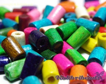 100x Wooden Cylinder Beads 8 mm - Mixed Colours