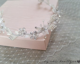 Bridal Wedding Tiara, Crystal and Rhinestones Wedding Tiara.