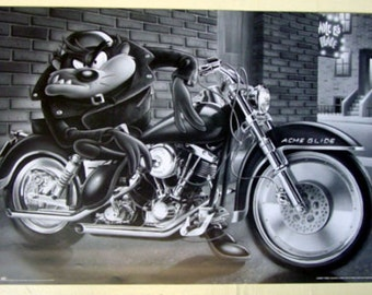 Looney Tunes Taz on Motorcycle poster Warner Brothers  23 x 35