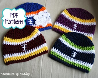 Pattern Only: Crochet Football Hat Pattern, Crochet Pattern, Football Beanie Pattern, Baby Football Hat Pattern, Crochet Pattern