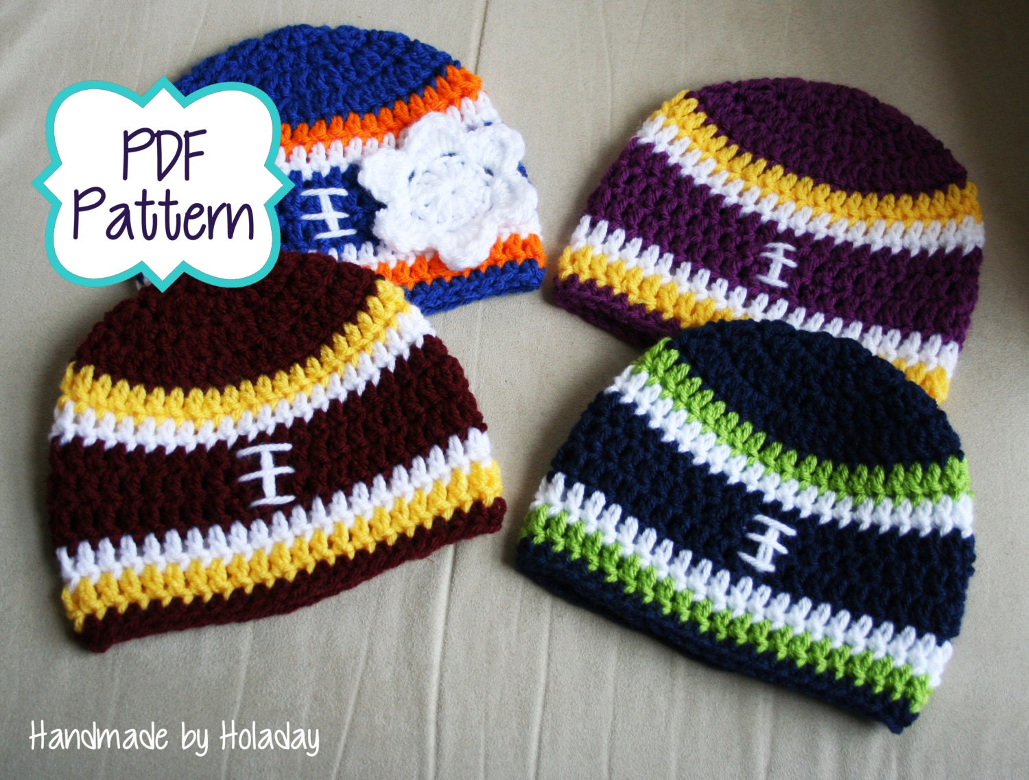 Crochet Pattern Baby Hat Free : Pattern Only: Crochet Football Hat Pattern Crochet Pattern
