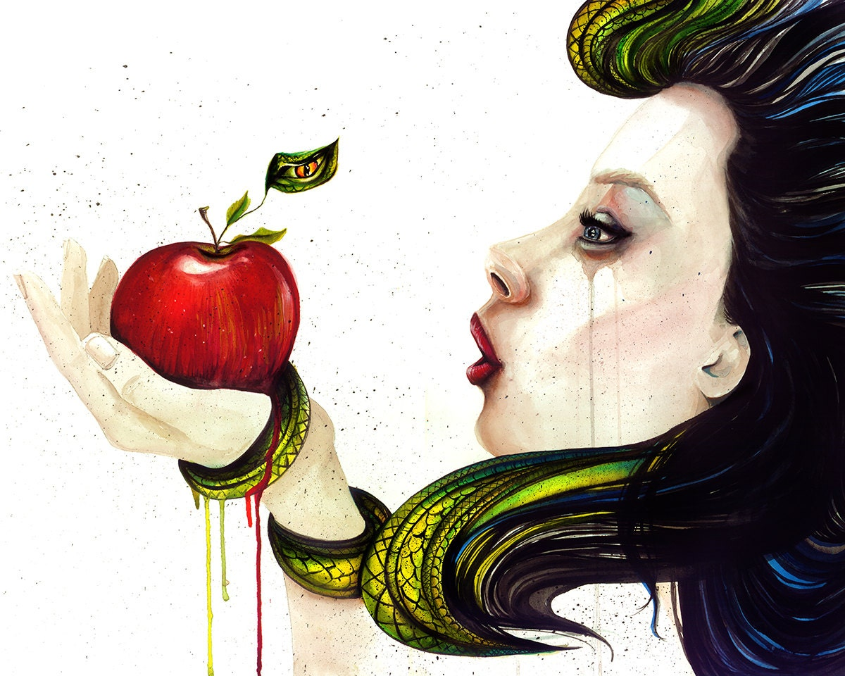 Watercolor Painting Artwork _ Apple Eve goddess by ...
