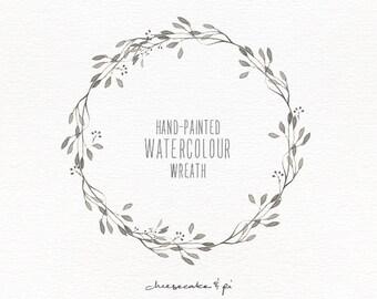 Watercolor wreath: 1 PNG floral clip art / Wedding invitation clip art / commercial use / CM0057a