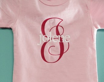 Toddler personalized shirt with name and letter
