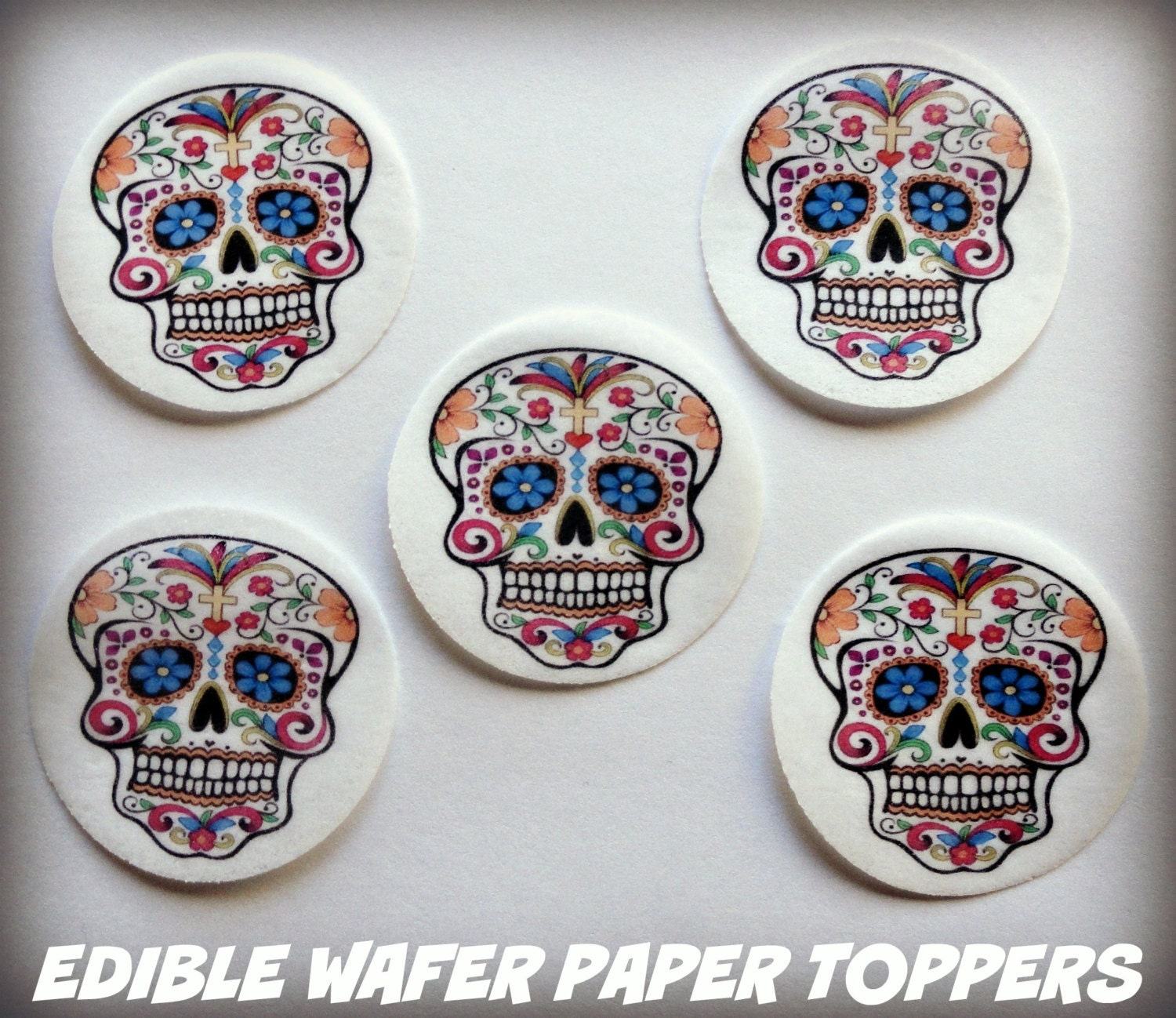 Edible Cake Decorations Skull : 24 HALLOWEEN Dia De Los Muertos Day of the Dead PreCut Edible
