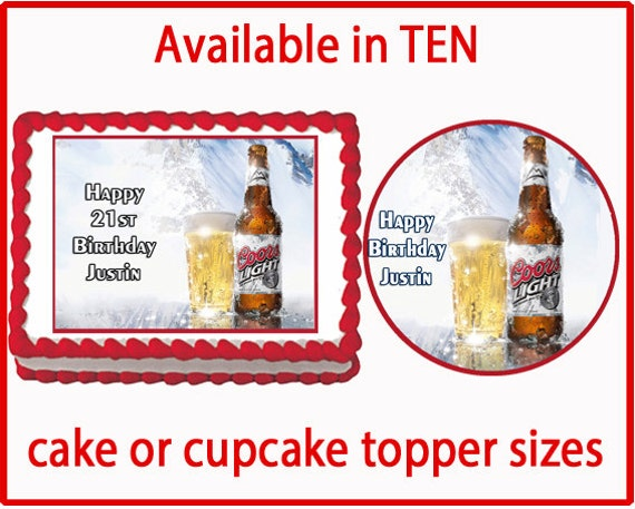 Edible Cake Images Instructions : Coors Light Beer Edible Cake Cookie or Cupcake by ...
