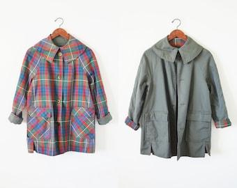 60s reversible jacket / plaid coat jacket