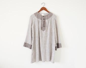 70s stripe dress / vintage tunic dress / mini dress