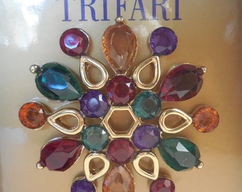 Vintage Style Crown Trifari Colorful Open Back Brooch Pin