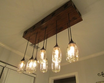 Lighting Mason Jar Chandelier- Rectangle - Mason Jar Light -Rustic Lighting- Mason Jar Lighting, Farmhouse, Industrial lighting