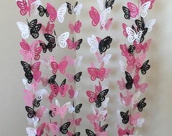 Mobile With Raspberry, Pink, White And Black Butterflies