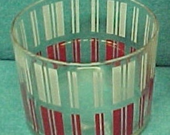 Ice Bucket Glass Red & White Vertical Lines