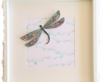 Dragonfly Collage / 3D papercut Dragonfly Picture - Large Shadow box frame