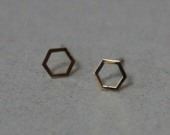10K Solid Gold Tiny Hexagon stud earrings, Geometric stud - TG024