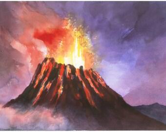 "Hawaii Volcano watercolor 10 X 14"" print"