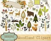 Woodland Forest Animals Clipart, PNG, Vector Clipart, Woodland Clip Art, Forest Clip Art, Deer, Fox, Raccoon owls bear, rabbit, birds