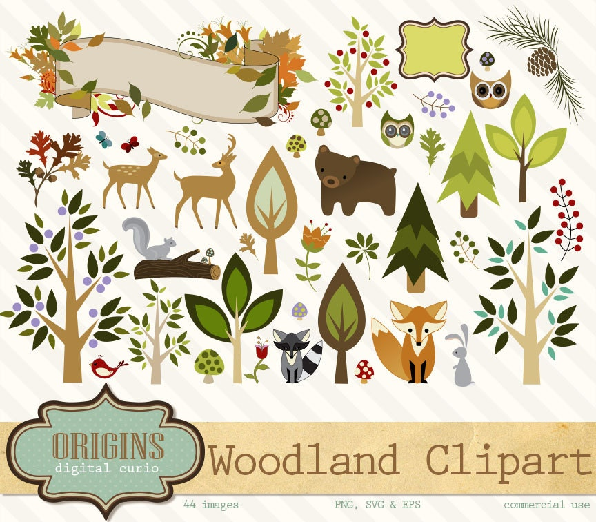 Woodland Forest Animals Clipart Png Vector Clipart