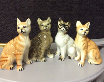 Set Of Four Vintage Porcelain Ceramic Cats Kittens Kitties Lego Hard To Find! Lego Japan Figuine