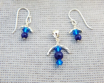Silver & Sodalite Earring and Pendant Set