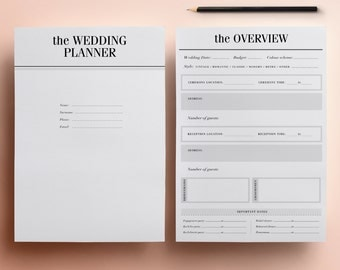 ULTIMATE Printable Wedding Planner Organizer | Half Size Inserts, 37 Minimal Printable Planners | Wedding To Do List, DIY Planner