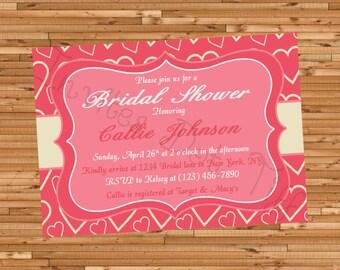 Hearts Bridal Shower Invite (Printable)