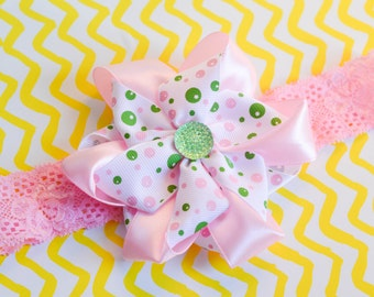 Beautiful Pink and Green Floral Headband with Kanzashi Flower