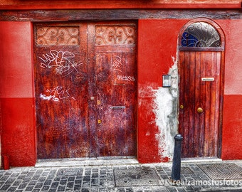 Valencia, Spain. Red Portales. Art photography on walking the streets of downtown Valencia.