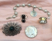 Silver Sudhu signed Silver Gold Band - Filigree Pin - Berries? Bracelet  plus 3 more silver items  -  Lot  6 Silver Items