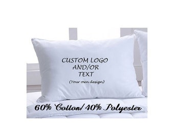 Set of 2 Custom Pillow Cases with Logo and/or Text - Choose Your Font and Font Color