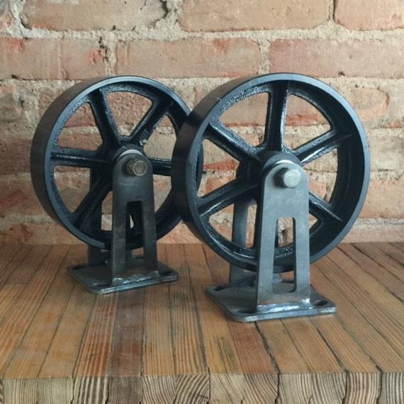 Vintage Retro Industrial Rigid Cast Iron Casters Spoked