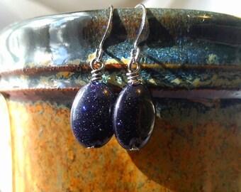 READY TO SHIP! - Blue Goldstone Earrings - Night Sky, Starry Night, Boho Earrings