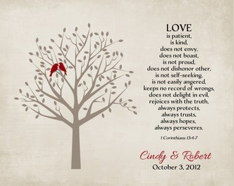 Personalized Anniversary Gift for Wife Valentines Day Paper Family Roots Tree Bible Verse Corinthians 13 Poem Art Print 8x10 Love is Patient