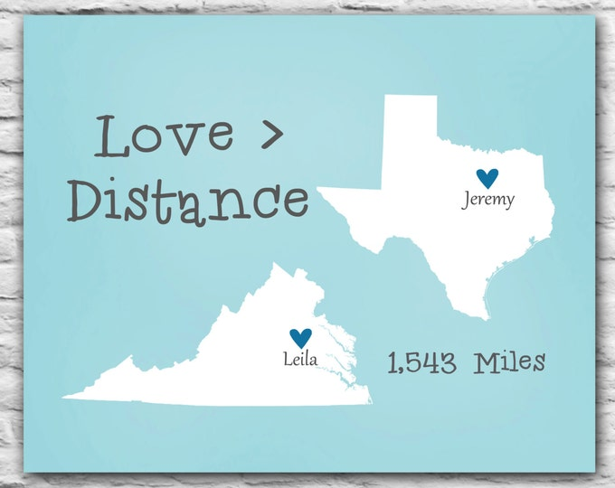 Love is Greater Than Distance - State Map Print, Gift For Boyfriend, Personalized Long Distance, Military Deployment Gift Heart State, Wife