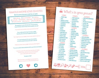 INSTANT DOWNLOAD Printable DIY Bridal Shower Games - Includes Two Games!