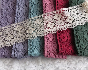 Cotton lace edge trimming, 8cm width, choice of colours, nice weight, soft texture, sold by the metre