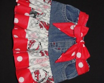 Nascar jean skirt. Just the thing for race day cuteness for your little diva! jean skirt, nascar toddler nascar baby, nascar tutu, baby tutu