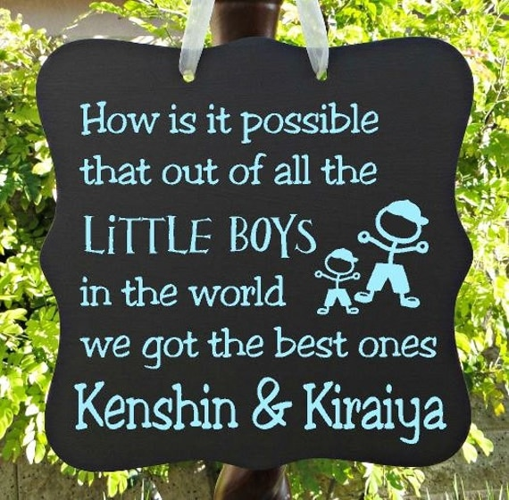 Little Boys Sign, Personalized Sign, Kids Decor, Door Hanger, Brothers, Twins, Boy Sign, Wall Art, Child Name Sign, Baby Sign