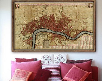 """Map of London 1700, Historical London map in 4 sizes up to 60x36"""" (150x90 cm) Rare painted map of London, England - Limited Edition of 100"""