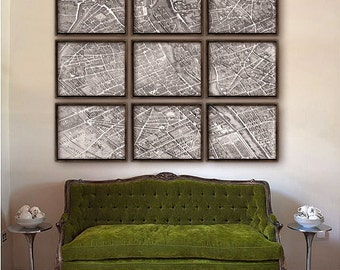 """Paris France map 1739, map of Paris up to 60x48"""" (150x120 cm) in 1 or 9 prints, Notre Dame, Louvre, Seine river - Limited Edition of 100"""