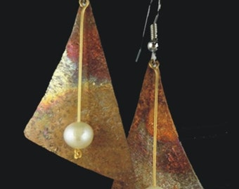 Gently Sculpted Copper Triangle and Pearl Earrings