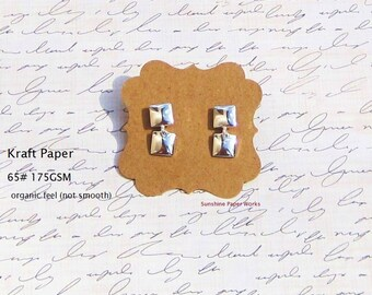 25 Organic Kraft Earring Cards - 175 GSM or 65 pound cardstock