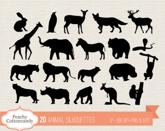 BUY 2 GET 1 FREE 20 Wild Animal Silhouettes Clipart - animal silhouette clip art - animal digital vector graphic - Commercial Use Ok