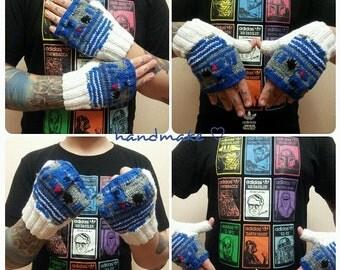 Mittens R2D2, knitted fingerless gloves, handmade, droid, star wars, blue, white, winter mittens