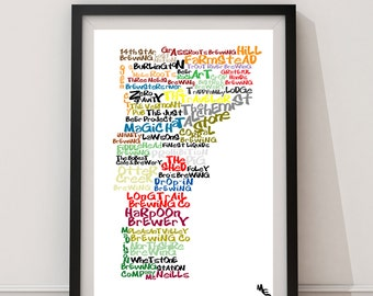 Vermont Breweries Typography Map, Custom Wall Poster, Digital Wall Print
