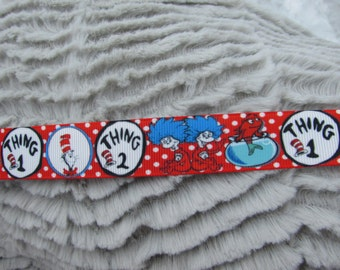 7/8in Dr. Suess Pattern GrosGrain Ribbon, hair bow ribbon, thing 1 thing 2 ribbon, Storybook ribbon, DIY Hairbows, 1yd ~ Brand New