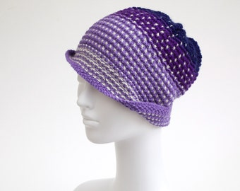 Art Knit Beanie Hat, Purple and Blue with White Polka Dot Pattern, Adult size, OOAK + charity donation