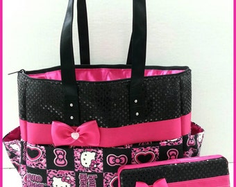 Hello Kitty diaper bag. Cheetah. Black sequin. Hot pink. Bow. Matching wipe case. Personalized