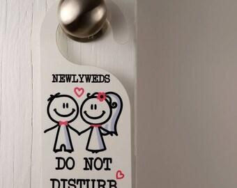 Newlyweds Do Not Disturb Wedding Pink Honeymoon Door Hanger Mariage